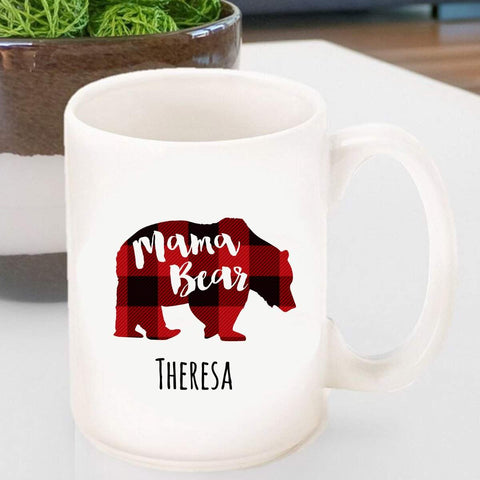 Personalized Coffee Mug - Mama Bear - MamaBearPlaid