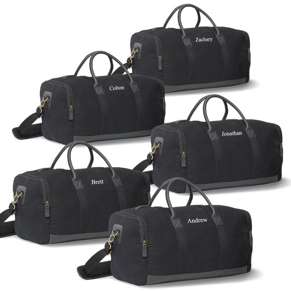 Groomsmen Gift Set of 5 Weekender Duffel Bags - Black - JDS