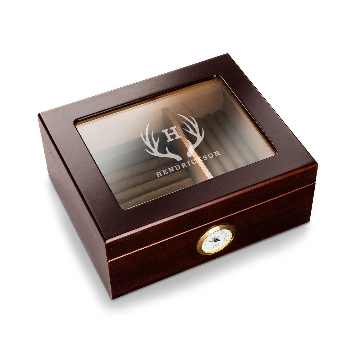Personalized Antler Glass Top Mahogany Humidor