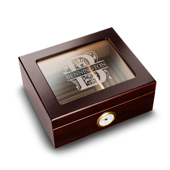 Personalized Humidor - Glass Top - Mahogany - Filigree - JDS