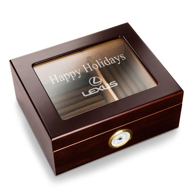 Personalized Corporate Glass Top Humidor - Mahogany -  - JDS