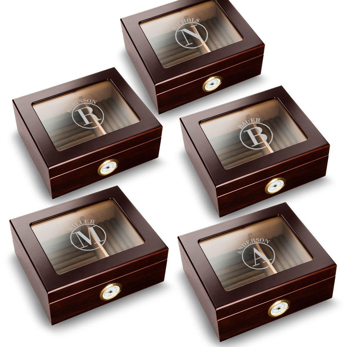 Personalized-Trinidad-Glass-Top-Mahogany-Humidors-Set-of-5