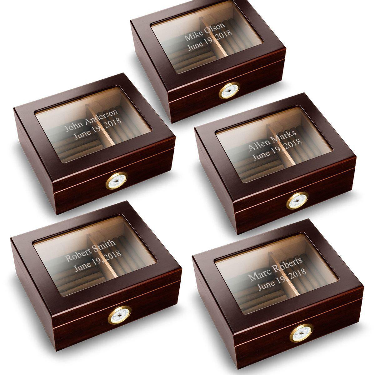 Personalized Mahogany Glass Top Humidors - Set of 5