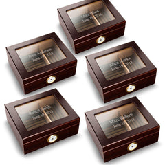 Personalized Mahogany Glass Top Humidors - Set of 5 -