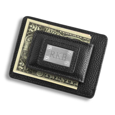 Personalized Studded Leather Money Clip Card Holder -  - JDS