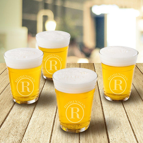 Monogrammed Beer Cup Glasses - Set of 4 - gc1553 Circle - JDS