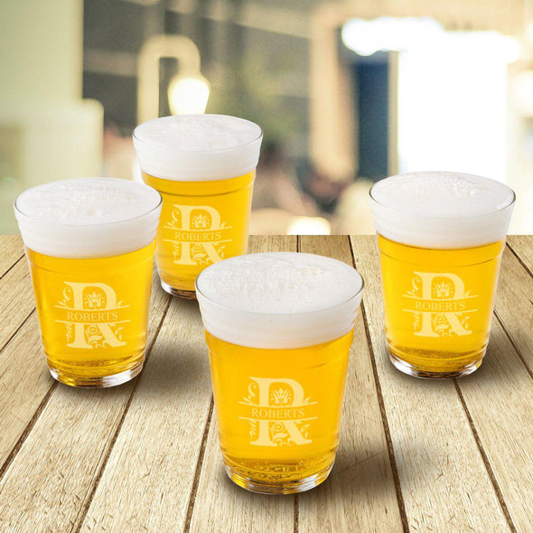 Monogrammed Beer Cup Glasses - Set of 4 - Filigree - JDS