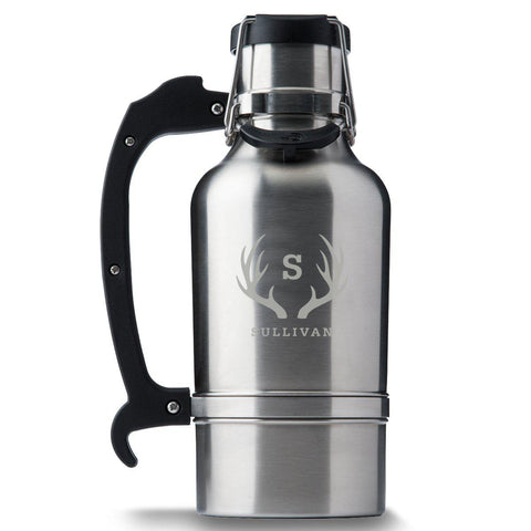 Monogram Brushed Stainless DrinkTanks® 64 oz. Insulated Growler - Antlers