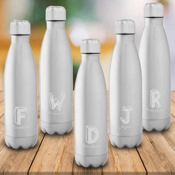 Personalized Set of 5 Stainless Steel Double Wall Insulated Water Bottle - Kate - JDS