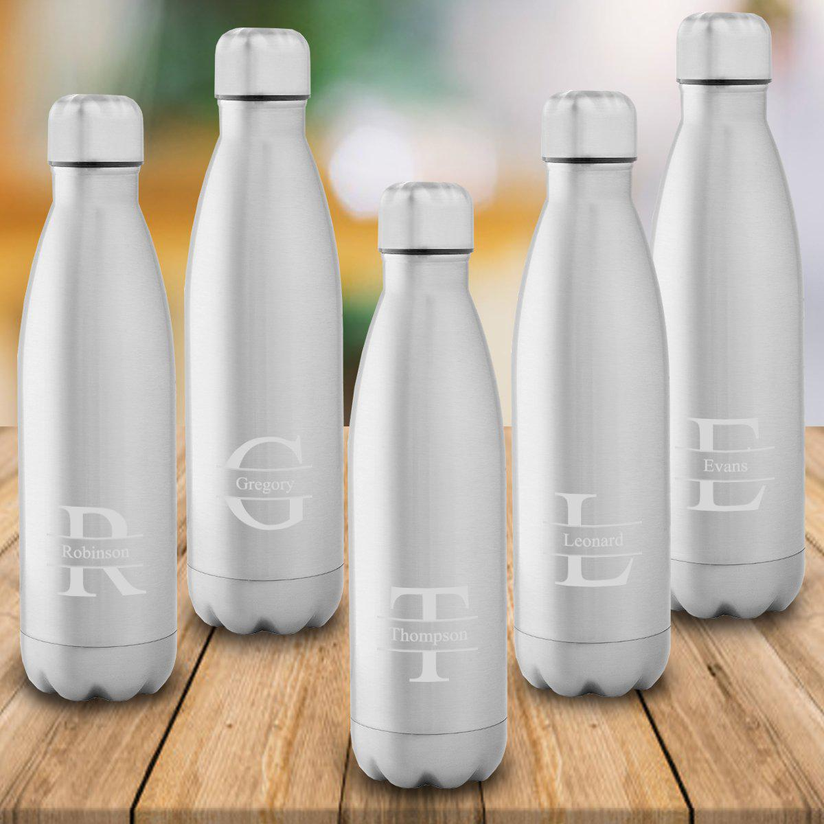 Personalized Set of 5 Stainless Steel Double Wall Insulated Water Bottle