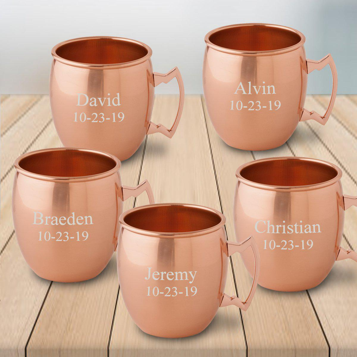 Personalized Gift Set of 5 Moscow Mule Mugs - Copper
