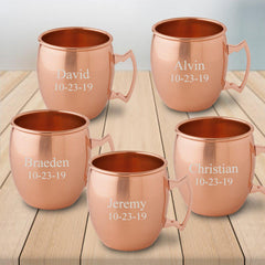 Personalized Mugs - Set of 5- Moscow Mule Mugs - Copper - Groomsmen Gift