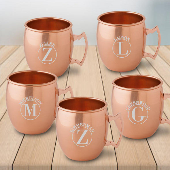 Personalized Gift Set of 5 Moscow Mule Mugs - Copper - Circle - JDS