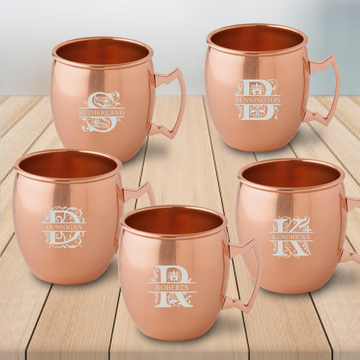 Personalized Gift Set of 5 Copper Moscow Mule Mugs