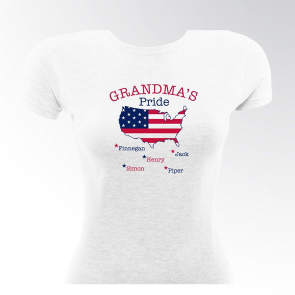 Personalized Grandma's Pride USA T-shirt -  - JDS