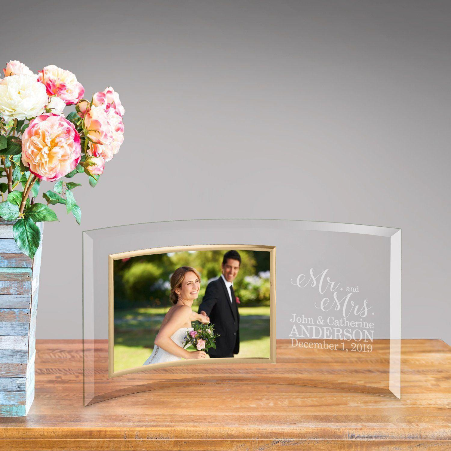 personalized mr mrs glass photo frame - Mr And Mrs Frame