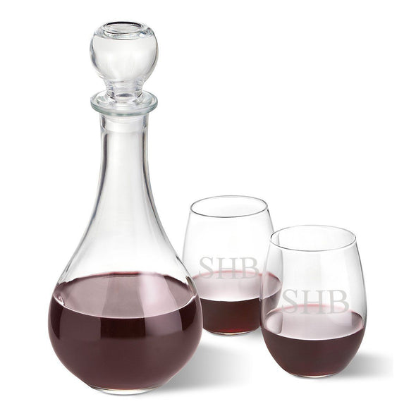 Personalized Wine Decanter with stopper and 2 Stemless Wine Glass Set - 3Initials - JDS
