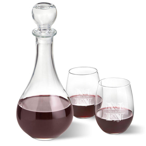 Personalized Wine Decanter with stopper and 2 Stemless Wine Glass Set - Filigree