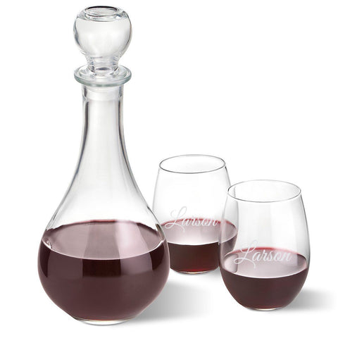 Personalized Wine Decanter with stopper and 2 Stemless Wine Glass Set - Script