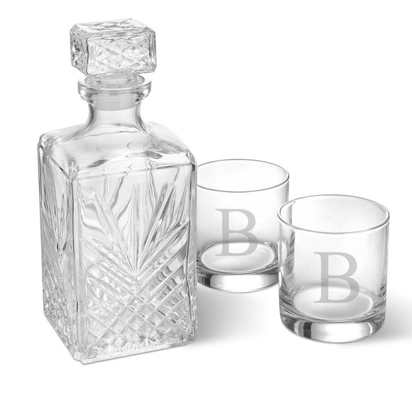 Personalized Square Decanter Set with 2  Rocks Glasses - SingleInitial - JDS