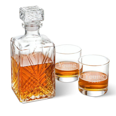 Personalized Square Whiskey Decanter Set with Stopper and 2  Rocks Glasses - 2Lines - JDS