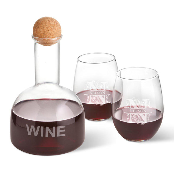 Personalized Wine Decanter in Wood Crate with set of 2 Stemless Wine Glasses - Filigree - JDS