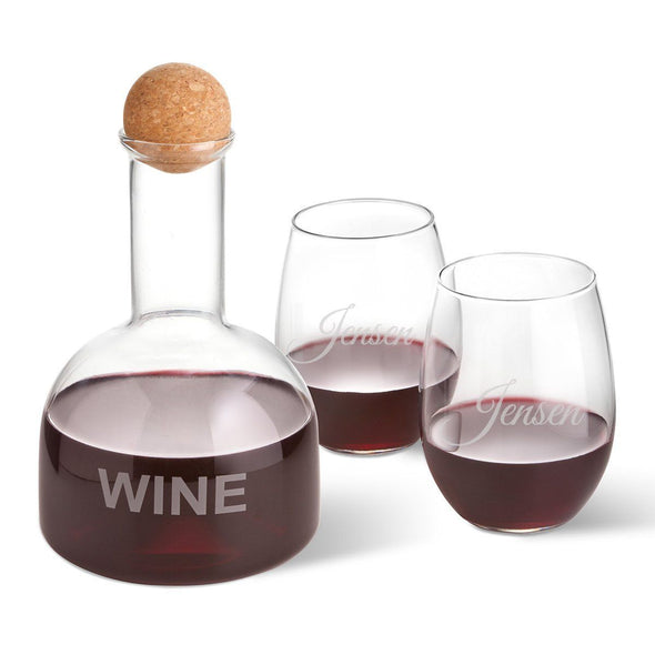 Personalized Wine Decanter in Wood Crate with set of 2 Stemless Wine Glasses - Script - JDS