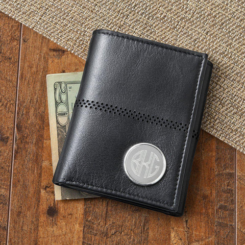 Personalized Men's Black Leather Tri-Fold Wallet -  - Gifts for Him - AGiftPersonalized