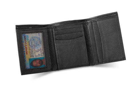 Personalized Black Borello Leather Tri-fold Wallet -  - Money Clips - AGiftPersonalized