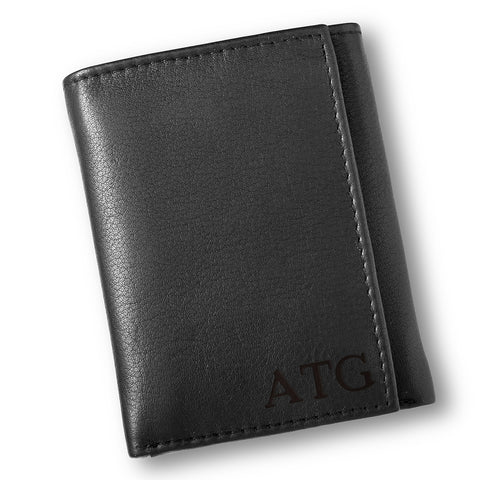 Personalized Black Borello Leather Tri-fold Wallet - Blind - Money Clips - AGiftPersonalized