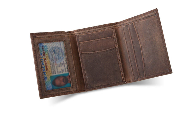 Personalized Medium Brown Leather Tri-fold Wallet -  - JDS