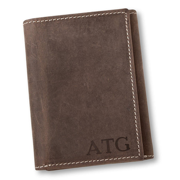 Personalized Medium Brown Leather Tri-fold Wallet - Blind - JDS