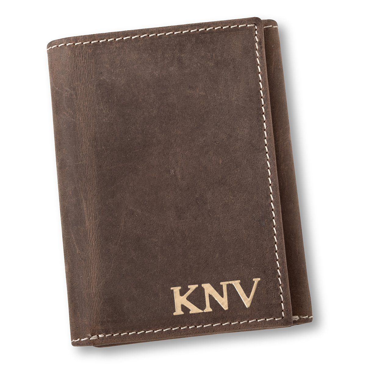 Personalized Medium Brown Borello Leather Tri-fold Wallet