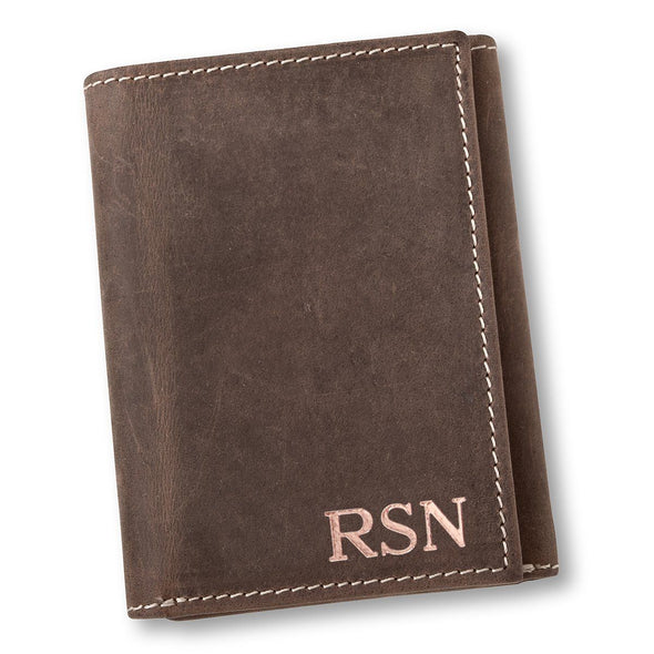 Personalized Medium Brown Leather Tri-fold Wallet - RoseGold - JDS