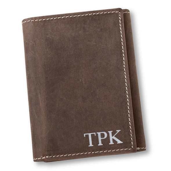 Personalized Medium Brown Leather Tri-fold Wallet - Gold - JDS