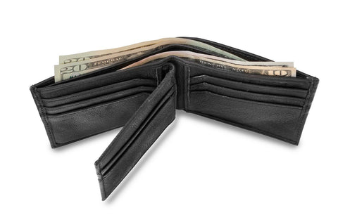 Personalized Black Borello Leather Convertible Wallet -