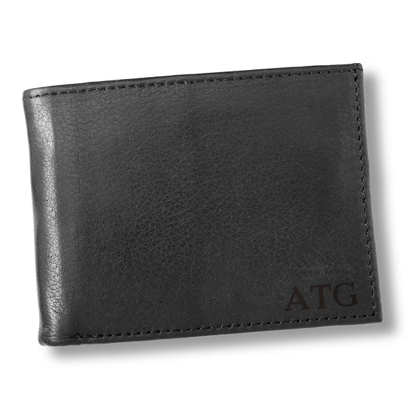 Personalized Black Borello Leather Convertible Wallet - Blind - JDS