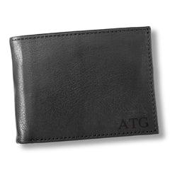 Personalized Black Borello Leather Convertible Wallet - Blind