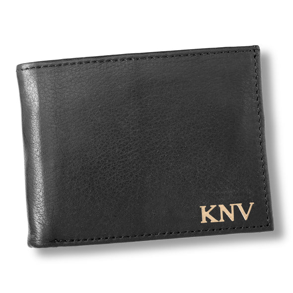 Personalized Black Borello Leather Convertible Wallet - Gold - JDS