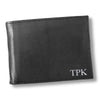 Personalized Black Borello Leather Convertible Wallet - Silver - JDS