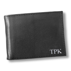 Personalized Black Borello Leather Convertible Wallet - Silver