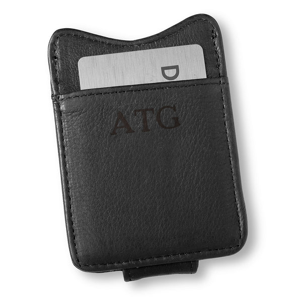 Personalized Black Borello Leather Money Clip - Blind - JDS