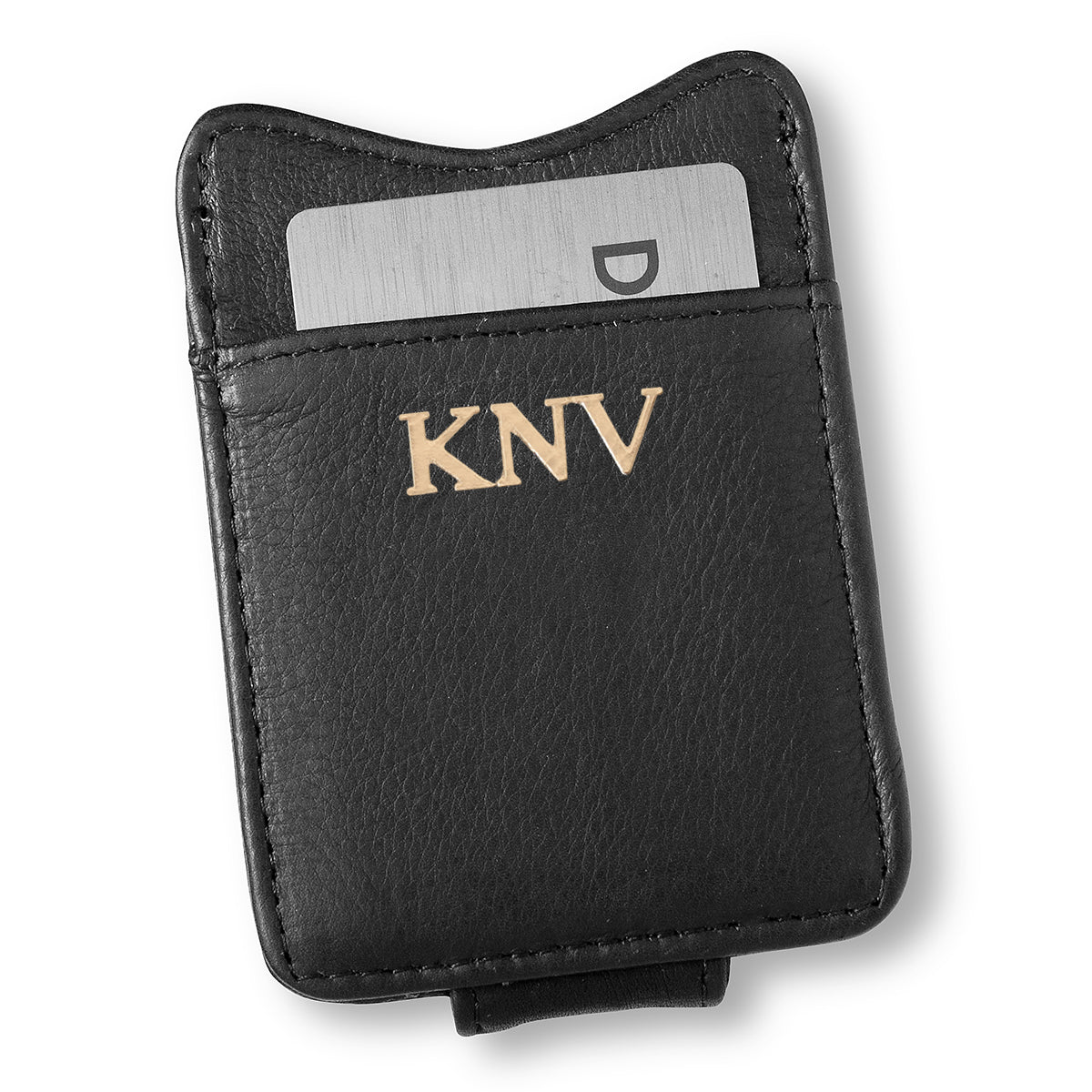 Personalized Black Borello Leather Money Clip