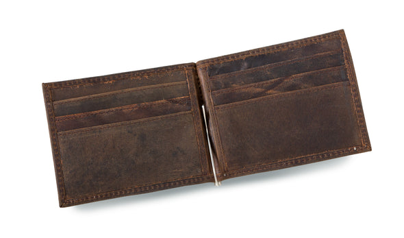Personalized Distressed Brown Borello Leather Wallet -  - JDS