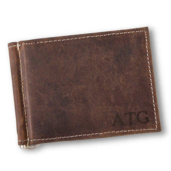 Personalized Distressed Brown Borello Leather Wallet - Blind - JDS