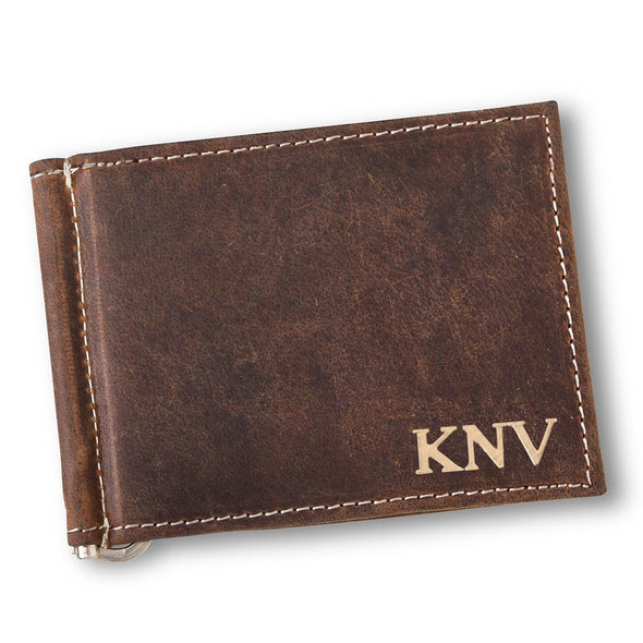 Personalized Distressed Brown Borello Leather Wallet - Gold - JDS