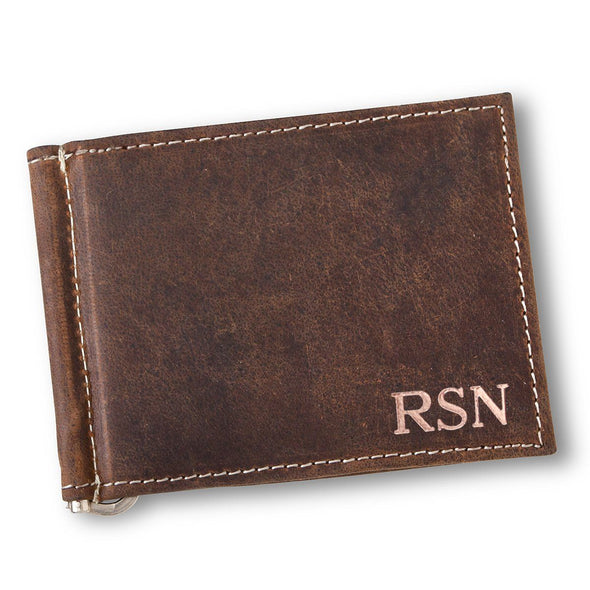 Personalized Distressed Brown Borello Leather Wallet - RoseGold - JDS