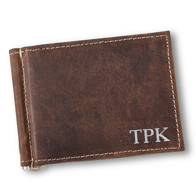 Personalized Brown Distressed Leather Wallet - Silver - JDS