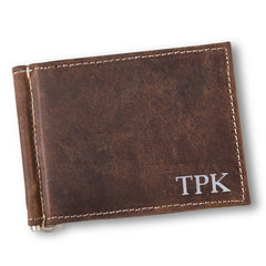 Personalized Distressed Brown Borello Leather Wallet
