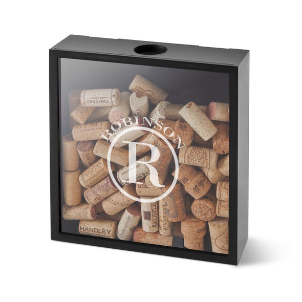 Personalized Wine Cork Display Shadow Box for Groomsmen - Circle - JDS